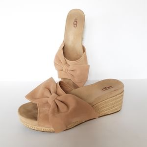 UGG Jaycee wedge slip-on suede sandals bow 9